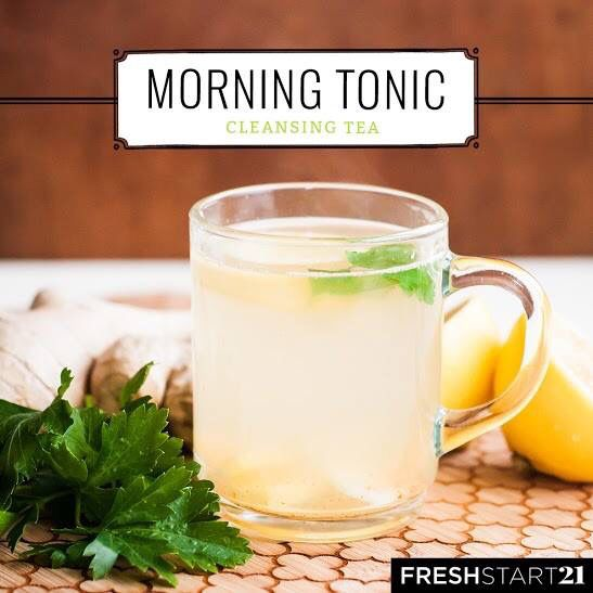 One of the best things you can do for your digestive system is start your morning with hot water and lemon—it's like a natural kickstart!  MORNING TONIC 1 cup filtered water 1-inch fresh ginger root, thinly sliced 1 tablespoon fresh lemon juice Dash of cayenne pepper Fresh parsley (optional) ---------------------------------- 1. Bring water to a boil. 2. Add sliced ginger and lemon juice to a mug. 3. Pour hot water into mug and allow to steep for 5 minutes. 4. Add a dash of cayenne, and…