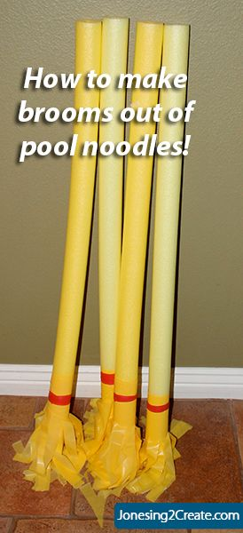 Worried your kids will kill each other with real brooms for Halloween? Make them with pool noodles!