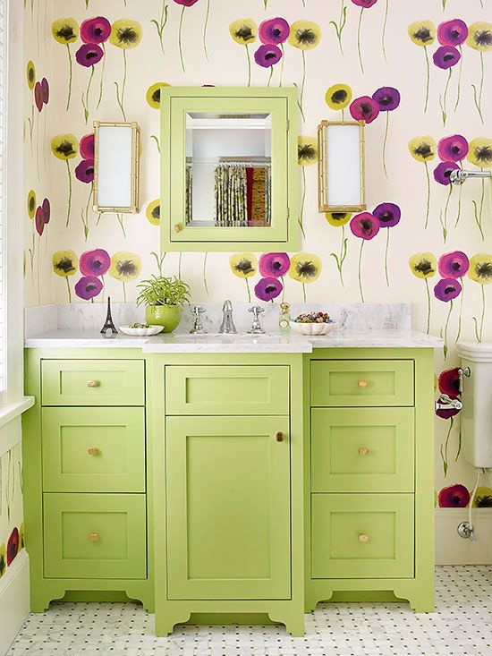 Although a cabinet-style vanity takes up more space than other types of vanities, its built-in shelves and drawers provide the most storage space possible: http://www.bhg.com/bathroom/vanities/small-bathroom-vanities/small-bathroom-vanity-ideas/?socsrc=bhgpin121814bigboldandbeautiful&page=18