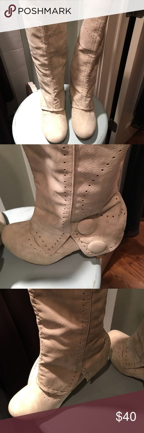 """""""Not Rated"""" tall boots Ivory/cream colored tall boots pull on. Man made material, 2 buttons design on bottom flaps. Good condition Not Rated Shoes Heeled Boots"""