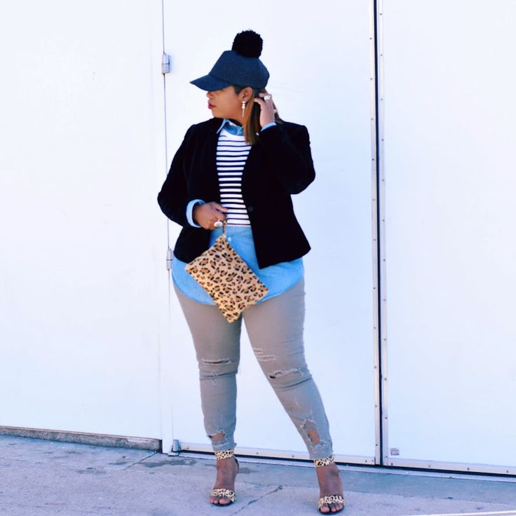 In My Joi: Get Schooled #layers #mixedprints #plussize #ootd #hat #pompom #tweed #stripes #leopardprint