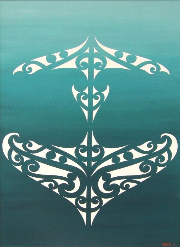 White maori design on Green background.