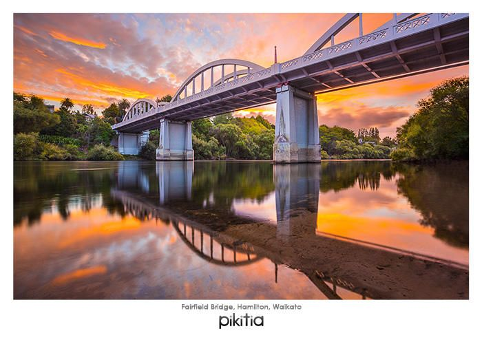 Postcard 'Fairfield Bridge, Hamilton, Waikato' which is found in Pikitia's high quality range of postcards