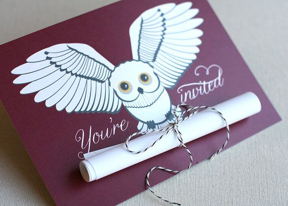 Snowy Owl Scroll Invitation Harry Potter by brightsideprints