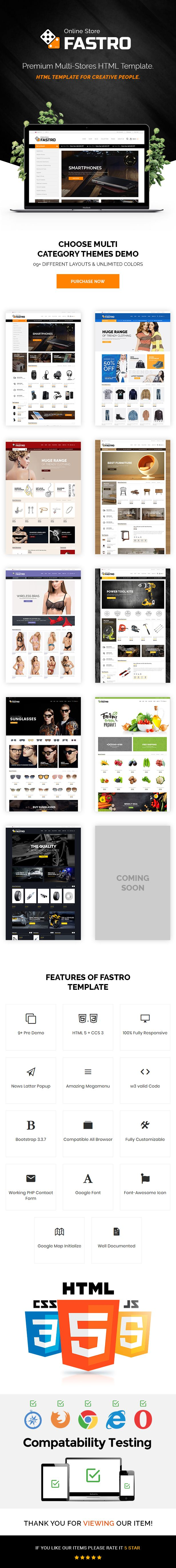 Fastro is a clean and high quality creative HTML5 template. Build with latest Boostrap v3.3.7. You can easily present your ideas with perfect stylish. well commented html and css code for user friendly. Fully responsive and compatible with all latest browser. We have included 9 pre defined layouts for home page & 90+ HTML Files