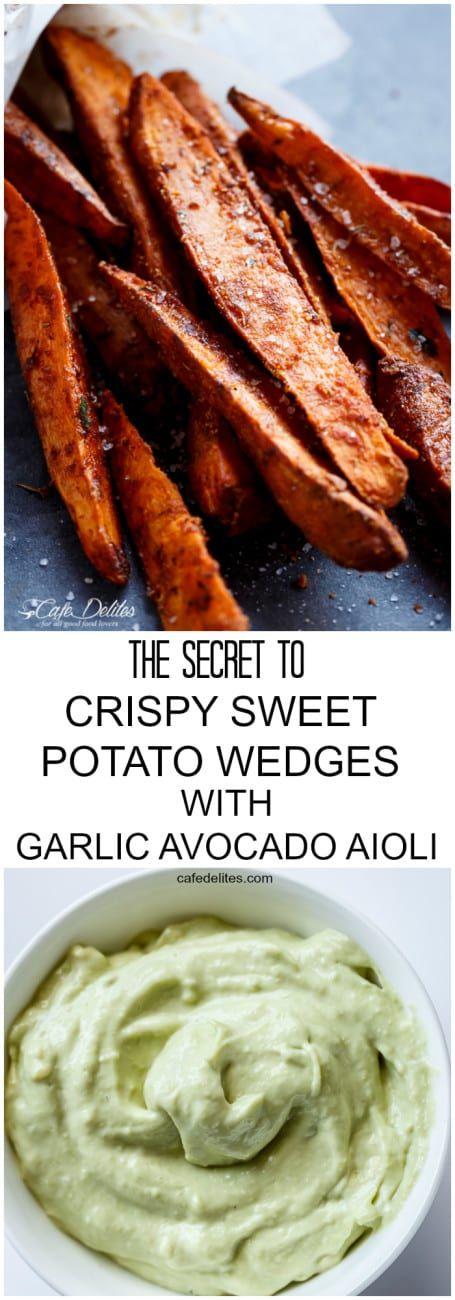 The Secret To Crispy Sweet Potato Wedges with Garlic Avocado Aioli   https://cafedelites.com