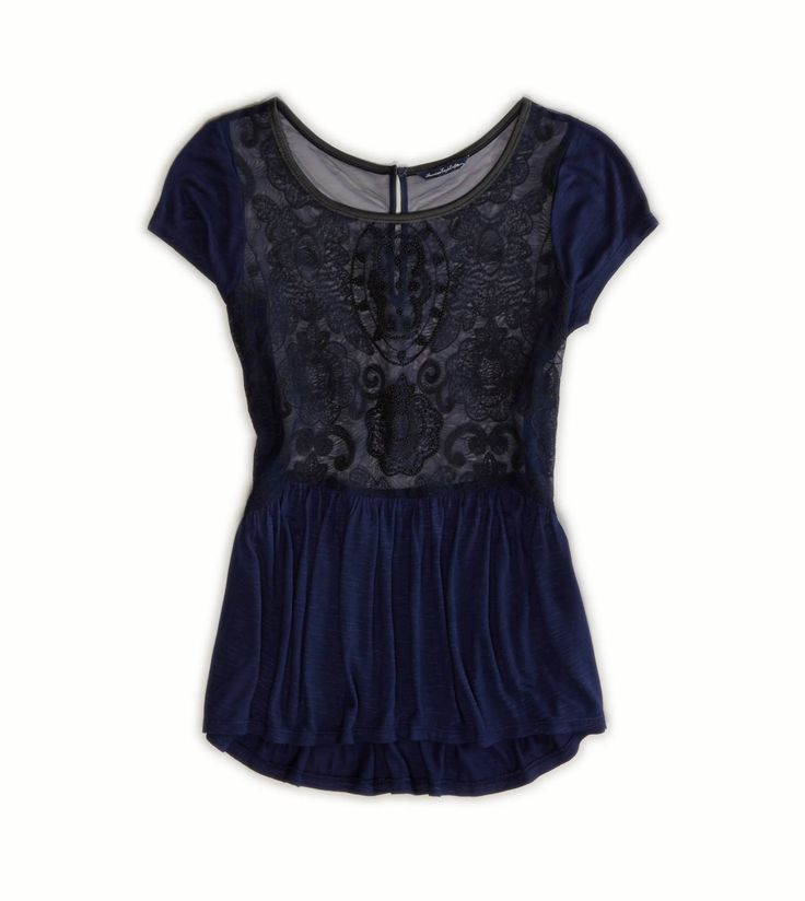 lace front navy top