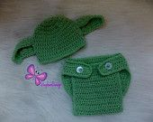 $25 Ready to ship Star Wars Baby Yoda costume Star Wars baby Yoda hat and Diaper cover set  Baby Yoda Hat Baby Star Wars Yoda Hat star wars hat