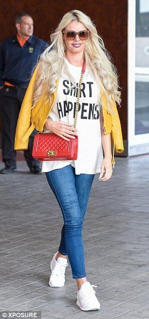 Not so mellow: Adding to the glamorous brigades of stars, Chloe Sims put on a typically stylish display in a canary yellow leather jacket