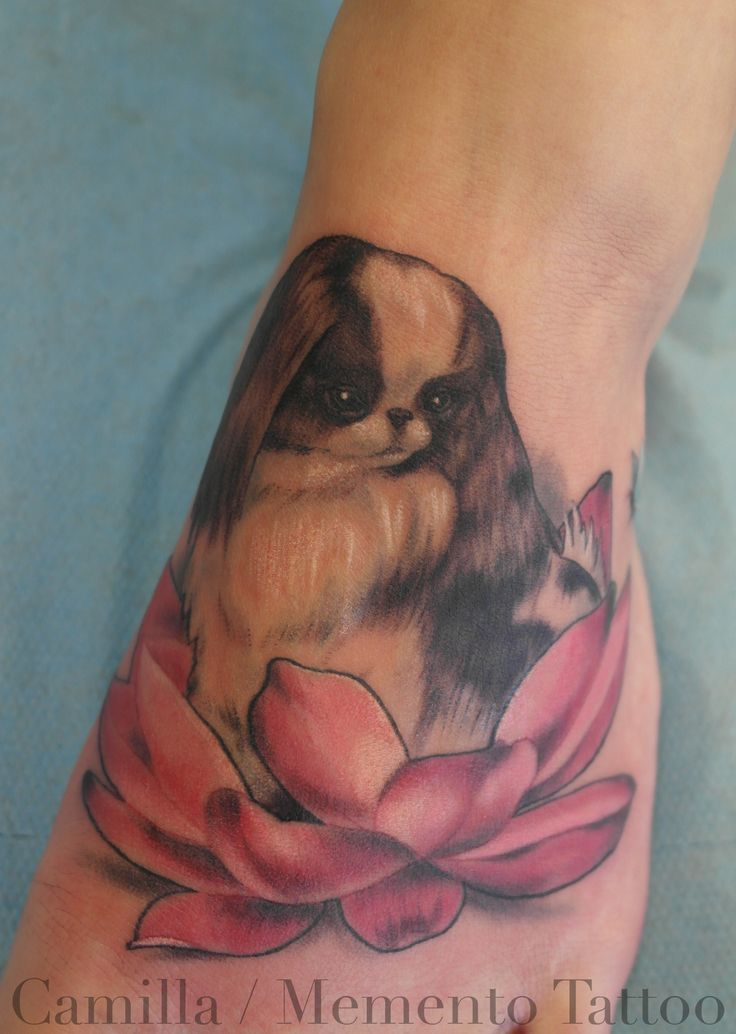 Custom, color tattoo on foot! Dog in lotus flower.