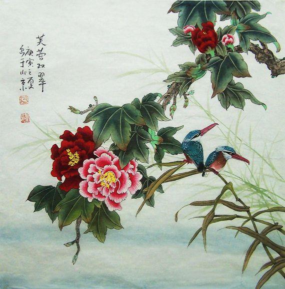 original  painting oriental art chinese art lovely flower by art68, $218.00