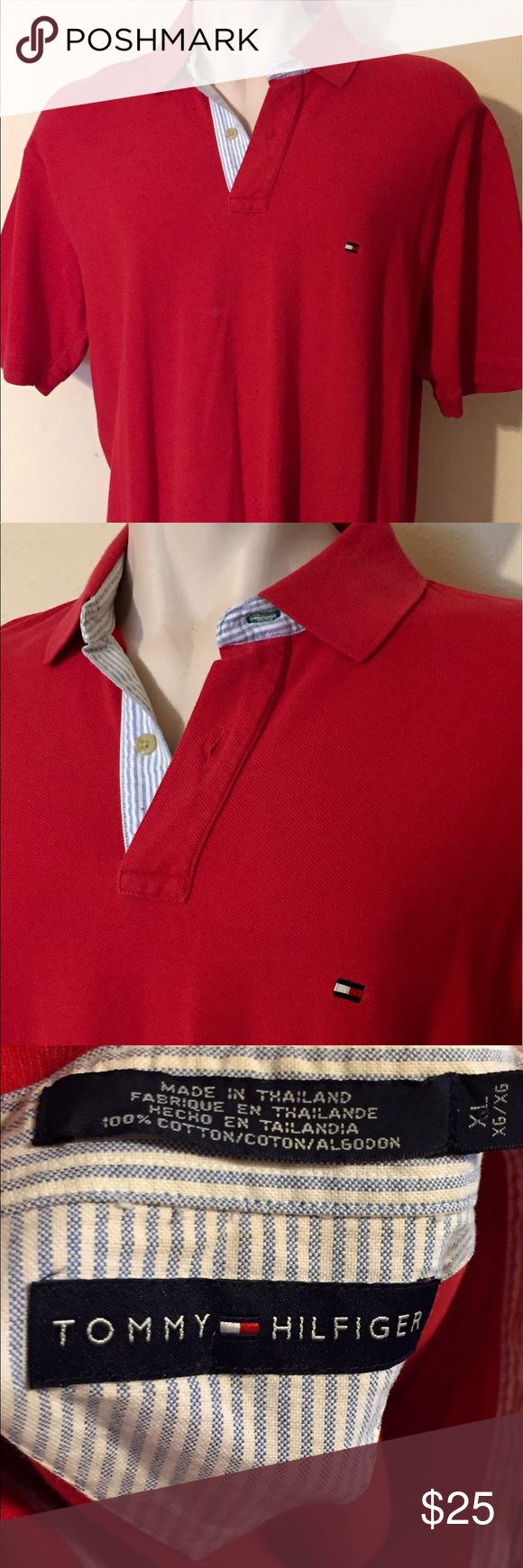 Tommy Hilfiger cotton polo shirt solid red Sz XL 051817-23 Tommy Hilfiger cotton polo shirt, red, Sz XL Tommy Hilfiger short sleeve 100% cotton polo shirt in solid red, Sz XL Chest - 50 Waist - 48 Length - 30 Shoulder Width - 22 Tommy Hilfiger Shirts Polos