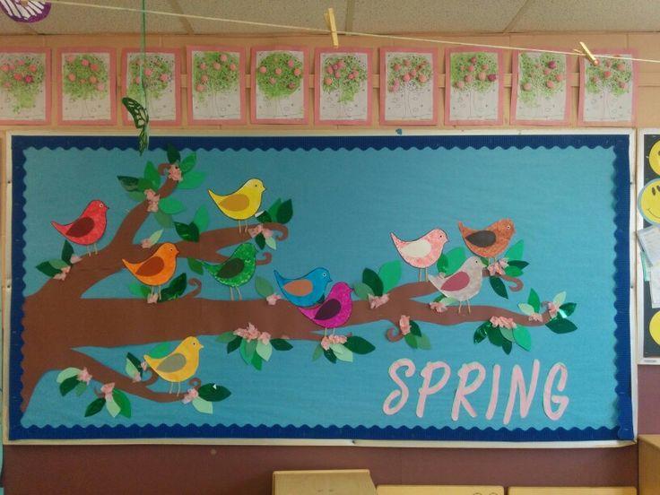 Classroom Ideas With Birds : Spring bird and cherry blossom bulletin board preschool