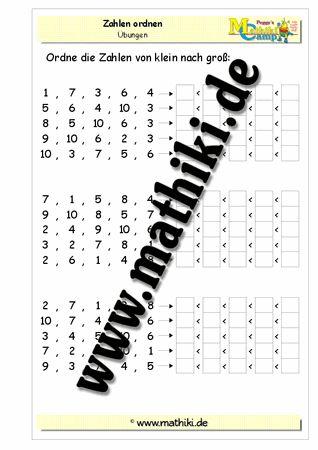 Zahlen ordnen im Zahlenraum bis 10 - www.mathiki.de - Ihre Matheseite im Internet #math #arbeitsblatt #worksheet