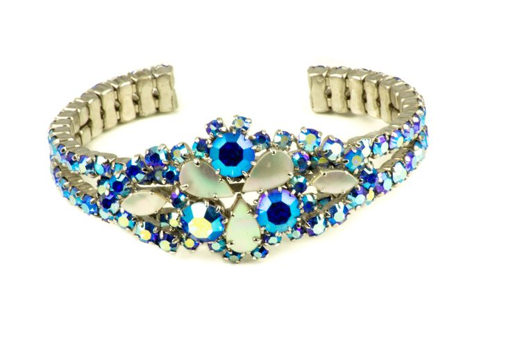 Vintage Aurora Borealis Rhinestone Bangle Bracelet Capri Blue by MariniJewellery on Etsy
