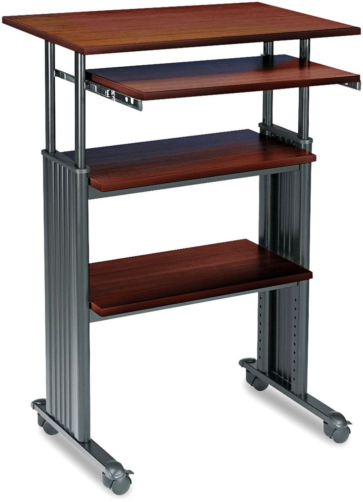 $284 Safco Products 1929CY Muv Stand-up Adjustable Height Stand Up Desk with Keyboard Shelf, Cherry