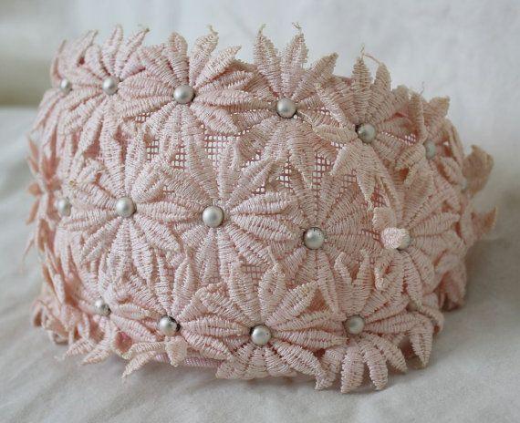 vintage 50s pink FASCINATOR HEADBAND // floral & pearl bridal hat // a161. $29.00, via Etsy.