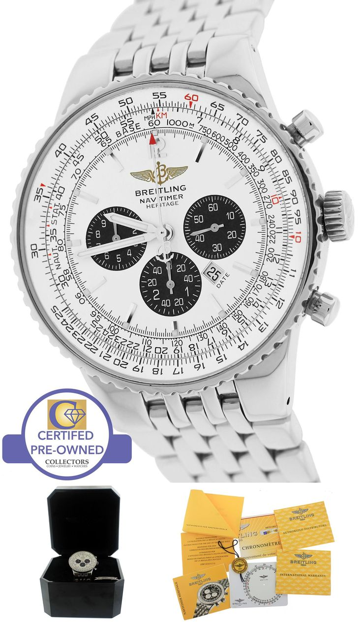Breitling Navitimer Heritage Flyback Panda White Steel 43mm A35340 A35350 Watch
