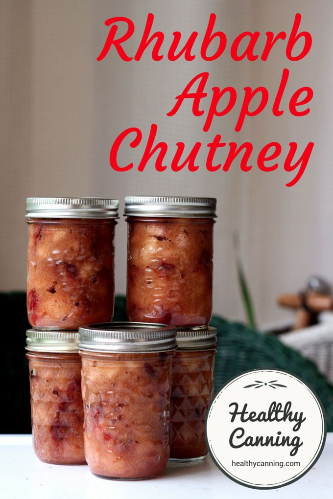 Rhubarb Apple Chutney. Delicious sugar and salt free chutney with the spritely taste and flavour of rhubarb.  1/2 a jar is only about 50 calories / 2 Weight Watchers PointsPlus®. Unreal!  Sugar-free and salt-free  #canning.