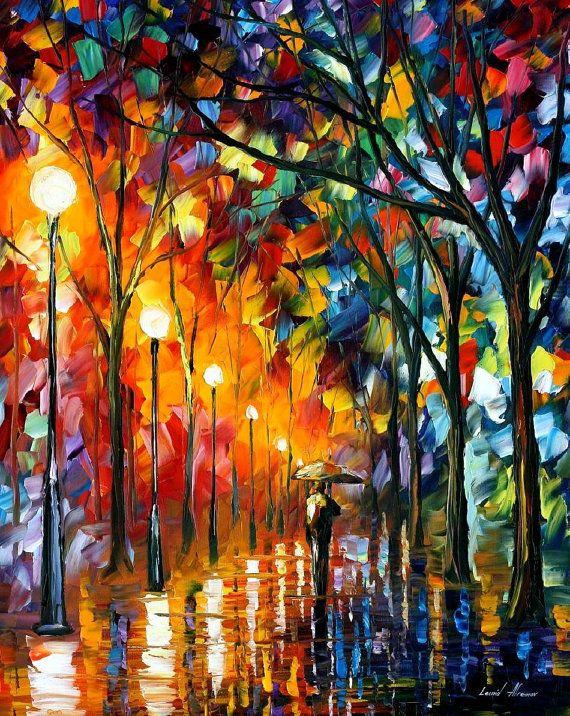 The Stroll Under The Rain — PALETTE KNIFE Oil Painting by Leonid Afremov on AfremovArtStudio, $239.00