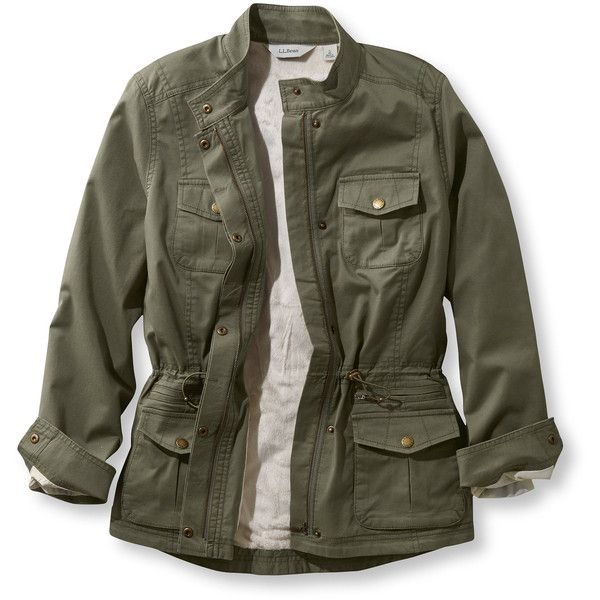L.L.Bean Lined Freeport Field Military Inspired Jacket  Misses Petite ($99) ❤ liked on Polyvore featuring outerwear, jackets, coats & jackets, tops, zip front jacket, military jacket, cinch jackets, military style coat and military field coat