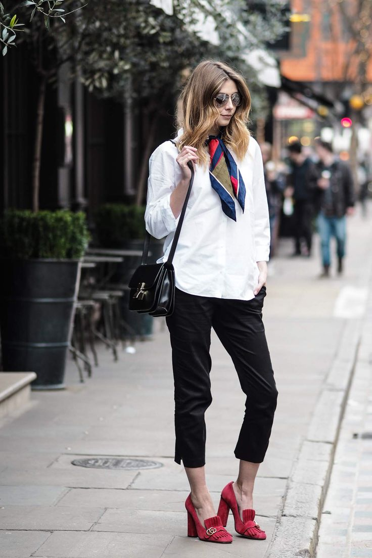 white shirt, silk scarf, ankle grazer trousers, celine box bag, red gucci shoes