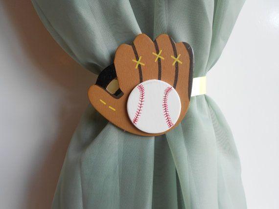 Basball Glove Curtain Tie Backs - Sports Nursery Theme - Little Boys Nursery - Baseball Themed Rooms by katharine