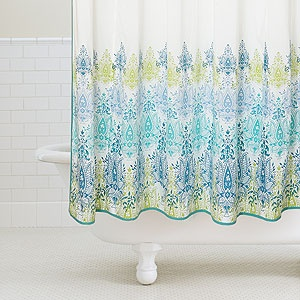Blue/Green Print Shower Curtain From World Market   Spruce Up Your Bathroom  Decor For