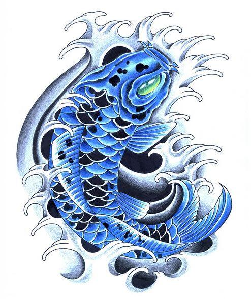 blue coi tattoo | Blue koi tattoos | Koi Fish Tattoo