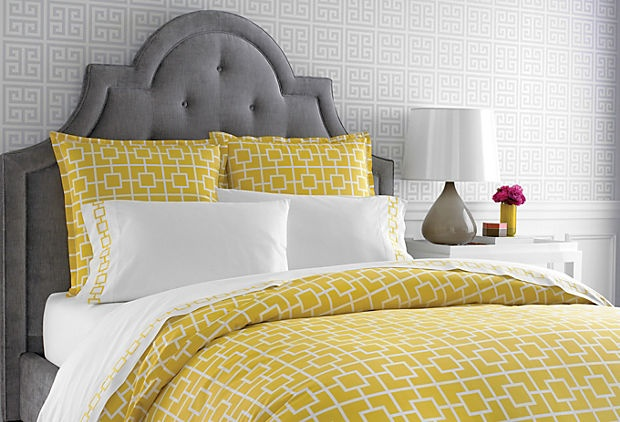 Gray, yellow, white master bedroom