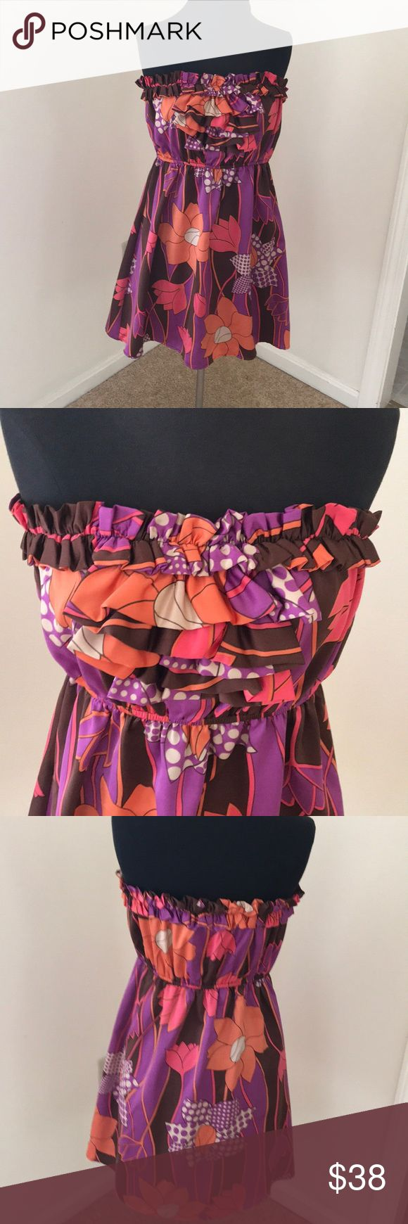 Judith March Brown/ violet Combo Strapless Dress Judith March violet/ Brown Combo Strapless Ruffled Large Dress Judith March Dresses Strapless