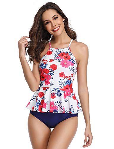 7c2e0691f2 MarinaVida Women Ruffle Top Swimsuit High Waist Two Piece Bathing Suit, #Ad  #Top
