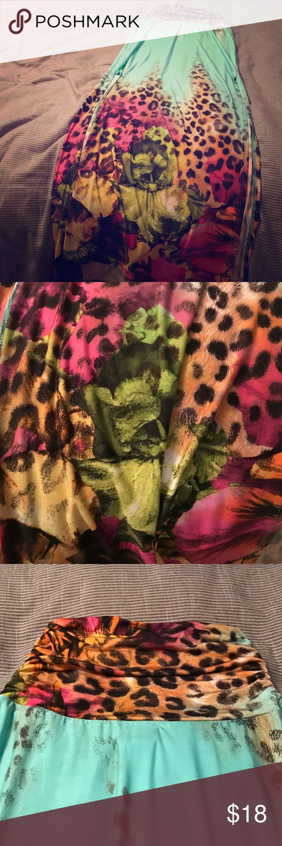 SOLD NWOT Venus turquoise and leopard skirt Never worn turquoise and leopard maxi skirt Venus Skirts Maxi