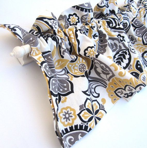 Ranae Valance Curtains Yellow White Black Paisley By Bananabunch 24 00