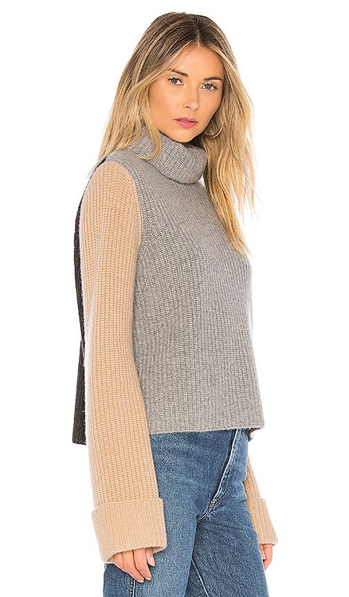 895a08dca7 Autumn Cashmere Colorblock Sweater in Cement