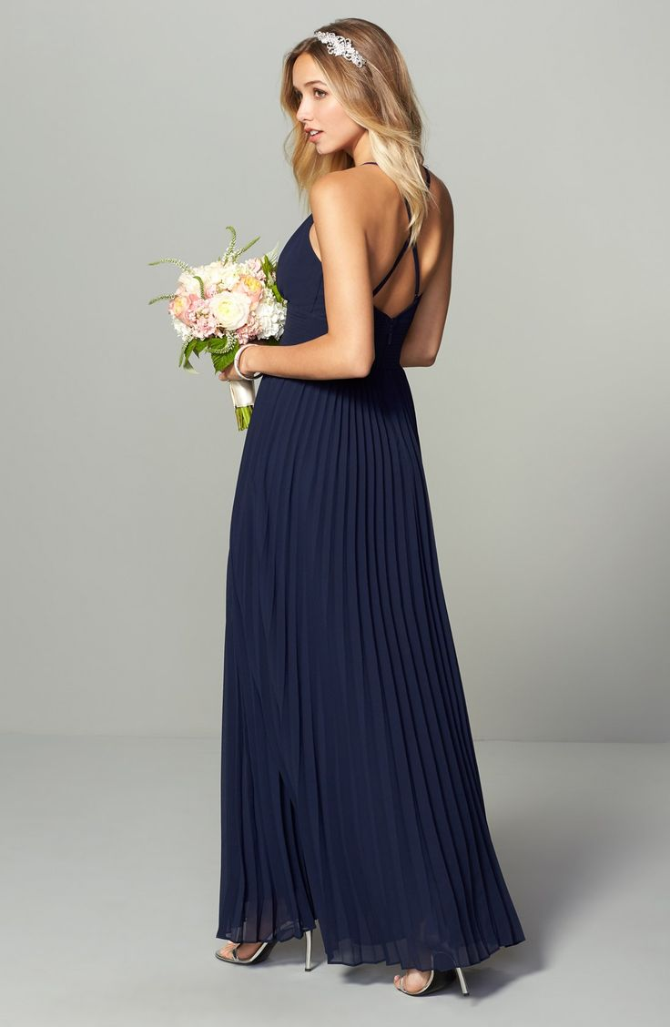153 best navy blue bridesmaid dresses images on pinterest navy bridesmaid dresses in navy blue lulus plunging v neck pleat georgette gown ombrellifo Gallery