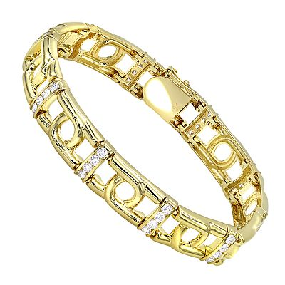 This 14K White Yellow Gold Mens Diamond Two-Tone Bracelet showcases 4 carats of genuine channel set diamonds. Featuring a beautiful combination of white and yellow gold and a luxurious polished gold finish, this mens diamond bracelet is available in 14K white, yellow and rose gold and different color combinations.