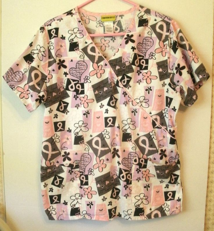 Pink Ribbons Women's Scrub Top Uniform Outlet Love Believe Hope Cancer L Large   #UniformOutlet