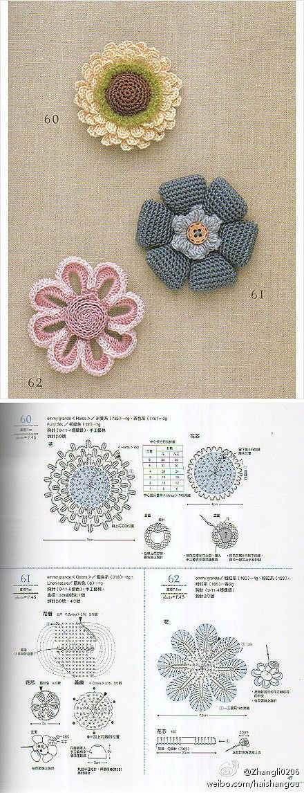 DIY crocheted flowers with diagram.