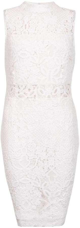 Quiz *Quiz White Crochet Mesh Midi Dress