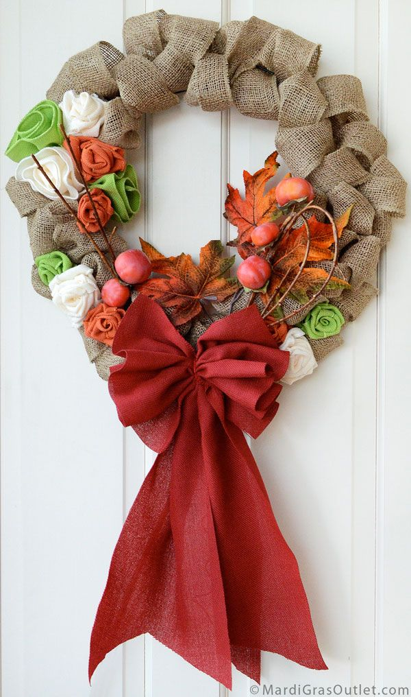 How to Make a Burlap Bow for Natural Decor: Fall Bubble Wreath