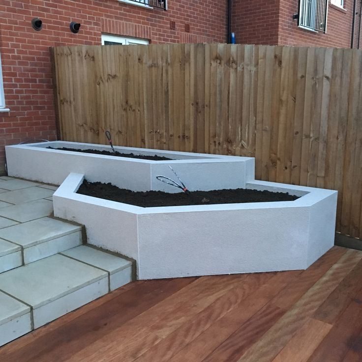Raised Planters Finished Off With Monocouche Rendering.