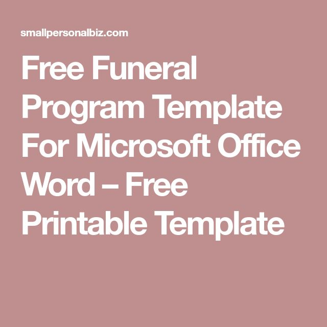 Free Funeral Program Template For Microsoft Office Word U2013 Free Printable  Template  Degrees In Microsoft Word