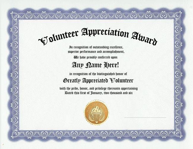 Volunteer appreciation award certificate - custom gift ...