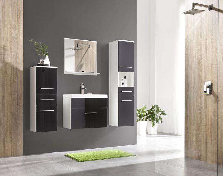 Badkamer Lupo uitgevoerd in de kleuren wit / Hoogglans zwart
