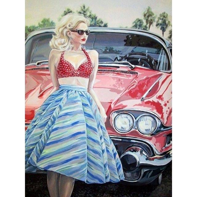 #girl #car #retro #blondy