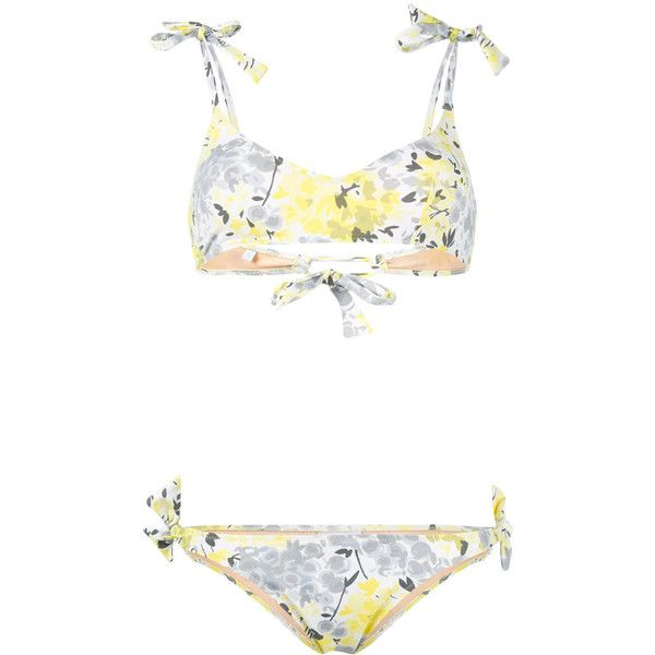 Emmanuela Swimwear floral print bikini ($180) ❤ liked on Polyvore featuring swimwear, bikinis, spandex swimwear, floral two piece, bikini swim wear, flower print bikini and floral swimwear