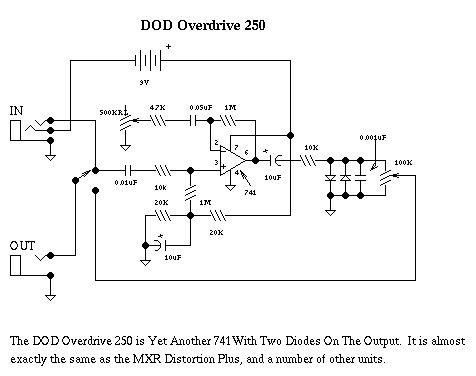 DOD Guitar distortion schematic Guitar, Distortion