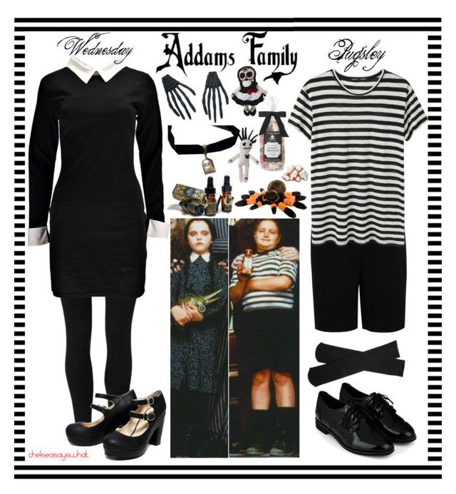 """Wednesday & Pugsley - The Addams Family"" by chelseasayswhat ❤ liked on Polyvore featuring NIKE, Boohoo, Plush, Hallhuber, Proenza Schouler and Accessorize"