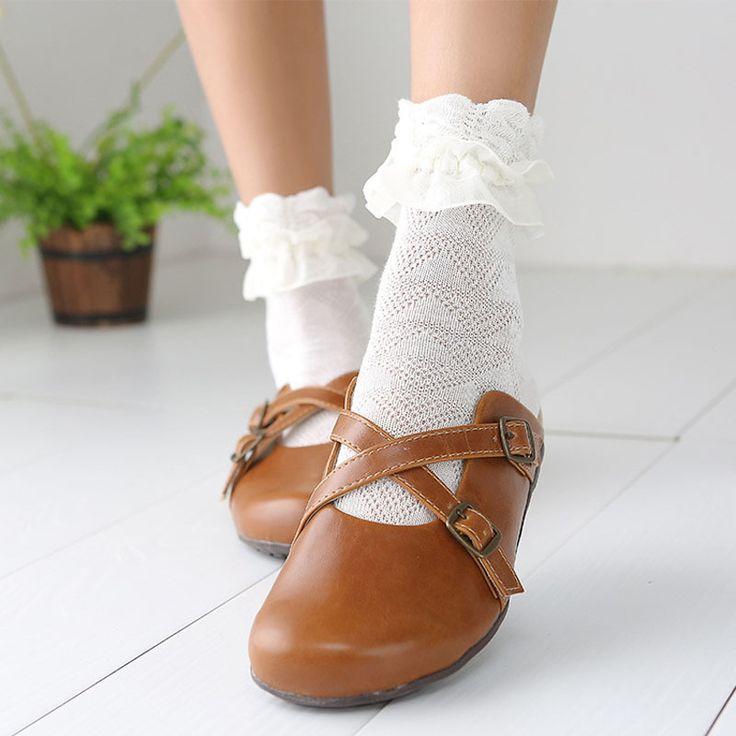 Cheap sock foot, Buy Quality socks superman directly from China sock holder Suppliers: Japanese Autumn Women Kawaii Princess White Black Lace lolita socks Retro Ruffle Cute Ladies Frilly Flower pilates socks